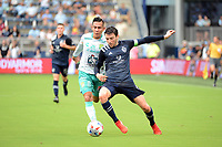 KANSAS CITY, KS - AUGUST 10: Ilie Sanchez #6 Sporting KC with the ball during a game between Club Leon and Sporting Kansas City at Children's Mercy Park on August 10, 2021 in Kansas City, Kansas.
