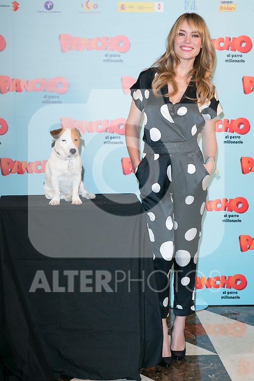 """Spanish Actress Patricia Conde and Cook the dog attends thethe photocall of the presentation of the movie """"Pancho El Perro Millonario"""" at the NH Palacio de Tepa Hotel in Madrid, Spain. June 3, 2014. (ALTERPHOTOS/Carlos Dafonte)"""
