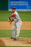 Auburn Doubledays pitcher Adrian Martinez (19) during a NY-Penn League game against the Batavia Muckdogs on June 14, 2019 at Dwyer Stadium in Batavia, New York.  Batavia defeated 2-0.  (Mike Janes/Four Seam Images)