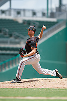 GCL Orioles relief pitcher Adam Stauffer (54) delivers a pitch during a game against the GCL Red Sox on August 9, 2018 at JetBlue Park in Fort Myers, Florida.  GCL Red Sox defeated GCL Orioles 10-4.  (Mike Janes/Four Seam Images)
