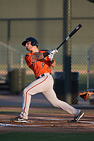 AZL Giants Orange designated hitter Joey Bart (9) follows through on his swing during an Arizona League game against the AZL Athletics at Lew Wolff Training Complex on June 25, 2018 in Mesa, Arizona. AZL Giants Orange defeated the AZL Athletics 7-5. (Zachary Lucy/Four Seam Images)