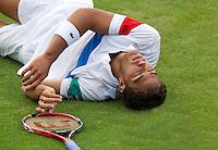 14-06-11, Tennis, Rosmalen, Unicef Open, Jesse Huta Galung gaat onderuit in zijn partij tegenReister