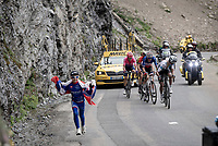 race leaders up the Col de l'Iseran (HC/2751m/13km@7.3%) <br /> > where the race was eventually stopped (at the top) because of landslides further up the road (after a severe hail storm in Tignes)<br /> <br /> Stage 19: Saint-Jean-de-Maurienne to Tignes(126km)<br /> 106th Tour de France 2019 (2.UWT)<br /> <br /> ©kramon
