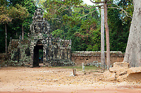 Cambodia, Eastern Face-tower Entrance to Banteay Kdei, opposite Srah Srang, Royal Bath.  12th-13th. Century.
