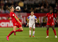 CARSON, CA - FEBRUARY 07: Janine Beckie #16 of Canada traps the ball during a game between Canada and Costa Rica at Dignity Health Sports Complex on February 07, 2020 in Carson, California.