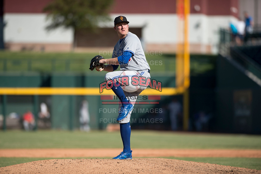 Surprise Saguaros relief pitcher Zach Jackson (36), of the Toronto Blue Jays organization, delivers a pitch during an Arizona Fall League game against the Mesa Solar Sox at Sloan Park on November 1, 2018 in Mesa, Arizona. Surprise defeated Mesa 5-4 . (Zachary Lucy/Four Seam Images)