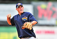 21 August 2010: Brooklyn Cyclones infielder James Schroeder fields grounders prior to game action against the Vermont Lake Monsters at Centennial Field in Burlington, Vermont. The Cyclones defeated the Lake Monsters 8-7 in a 12-inning game that had to be resumed in Brooklyn on August 31 due to late inning rain. Mandatory Credit: Ed Wolfstein Photo