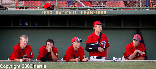 RAPID CITY, SD -- JULY 30, 2009 -- Players in the Watertown dugout watch in the late innings as Rapid City Post 320 stretches their lead at the 2009 South Dakota State Legion Baseball tournament at Floyd Fitzgerald Stadium in Rapid City Thursday. (Photo by Dick Carlson/Inertia)
