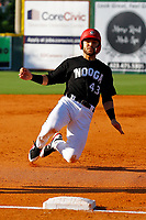 Zander Wiel (43) of the Chattanooga Lookouts slides safely into third base in a game against the Mobile BayBears on June 3, 2018 at AT&T Field in Chattanooga, Tennessee. (Andy Mitchell/Four Seam Images)