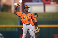 AZL Giants Orange shortstop Marco Luciano (10) during an Arizona League game against the AZL Cubs 1 on July 10, 2019 at Sloan Park in Mesa, Arizona. The AZL Giants Orange defeated the AZL Cubs 1 13-8. (Zachary Lucy/Four Seam Images)