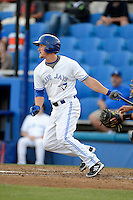 Dunedin Blue Jays outfielder Marcus Knecht #4 during a game against the Tampa Yankees on April 11, 2013 at Florida Auto Exchange Stadium in Dunedin, Florida.  Dunedin defeated Tampa 3-2 in 11 innings.  (Mike Janes/Four Seam Images)