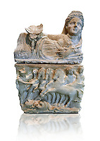 150-27 B.C Etruscan Hellenistic style cinerary urn,  National Archaeological Museum Florence, Italy , white background