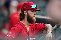 Cole Brannen (5) of the Greenville Drive before a game against the Greensboro Grasshoppers on Saturday, July 24, 2021, at Fluor Field at the West End in Greenville, South Carolina. (Tom Priddy/Four Seam Images)