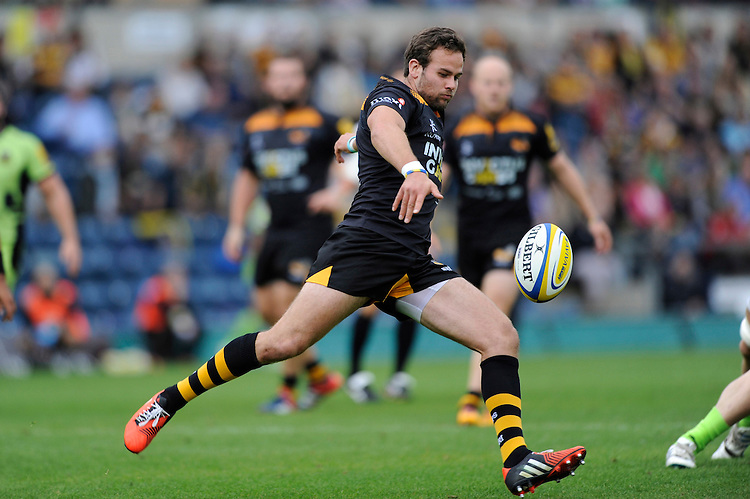 Ruaridh Jackson of Wasps clears his line during the Premiership Rugby Round 2 match between Wasps and Northampton Saints at Adams Park on Sunday 14th September 2014 (Photo by Rob Munro)