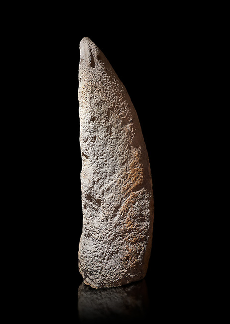 Late European Neolithic prehistoric Menhir standing stone with carvings on its face side. The representation of a stylalised male figure starts at the top with a long nose from which 2 eyebrows arch around the top of the stone. below this is a carving of a falling figure with head at the bottom and 2 curved arms encircling a body above. at the bottom is a carving of a dagger running horizontally across the menhir. Excavated from Perida Iddocca VII site,  Laconi.  Menhir Museum, Museo della Statuaria Prehistorica in Sardegna, Museum of Prehoistoric Sardinian Statues, Palazzo Aymerich, Laconi, Sardinia, Italy. Black background.