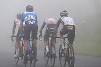 22nd May 2021, Monte Zoncolan, Italy; Giro d'Italia, Tour of Italy, route stage 14, Cittadella to Monte Zoncolan; 174 OLIVEIRA Nelson POR 116 GAVAZZI Francesco ITA AND 151 BENNETT George NZL