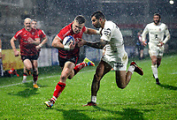 11 December 2020; Ian Madigan fends off Sofiane Guitoune to score Ulsters second try during the Heineken Champions Cup Pool B Round 1 match between Ulster and Toulouse at Kingspan Stadium in Belfast. Photo by John Dickson/Dicksondigital