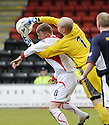 03/05/2008   Copyright Pic: James Stewart.File Name : sct_jspa16_airdrie_v_raith.MICHAEL BROWN CATCHES THE BALL AHEAD OF BRYAN PRUNTY.James Stewart Photo Agency 19 Carronlea Drive, Falkirk. FK2 8DN      Vat Reg No. 607 6932 25.Studio      : +44 (0)1324 611191 .Mobile      : +44 (0)7721 416997.E-mail  :  jim@jspa.co.uk.If you require further information then contact Jim Stewart on any of the numbers above........