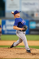 Pitcher Joey Walsh (24) of Plymouth Norht High School in Plymouth, Massachusettes playing for the Texas Rangers scout team during the East Coast Pro Showcase on July 28, 2015 at George M. Steinbrenner Field in Tampa, Florida.  (Mike Janes/Four Seam Images)