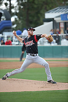 Michael Kelly (21) of the Lake Elsinore Storm pitches against the Rancho Cucamonga Quakes at LoanMart Field on April 10, 2016 in Rancho Cucamonga, California. Lake Elsinore defeated Rancho Cucamonga, 7-6. (Larry Goren/Four Seam Images)