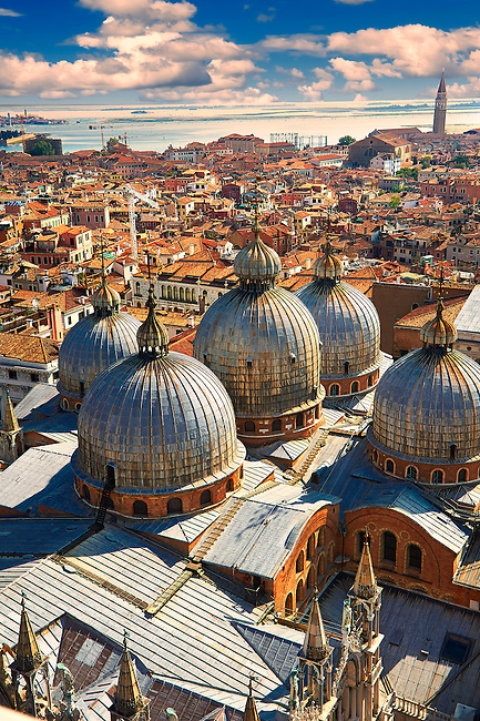 Arial view of St Mark's Basilica, Venice Italy
