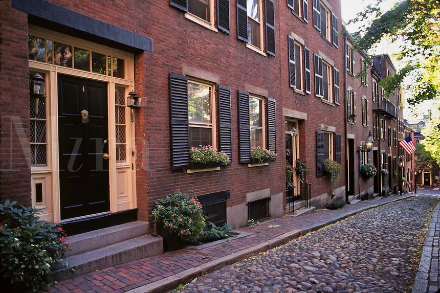 Massachusetts, Boston; Residential Brownstones On Acorn Street; River Rock Paving; Beacon Hil