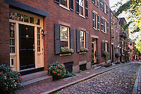 Massachusetts, Boston; Residential Brownstones On Acorn Street; River Rock Paving; Beacon Hil