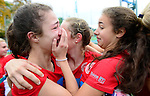 GER - Mannheim, Germany, October 25: Players of Bremer HC react after winning the penalty shootout at the final of the Deutsche Meisterschaft WJB between Mannheimer HC and Bremer HC on October 25, 2015 at Mannheimer Hockey Club in Mannheim, Germany. Final score 3-4 (ET 1-1, FT 1-1, HT 0-1). (Photo by Dirk Markgraf / www.265-images.com) *** Local caption ***