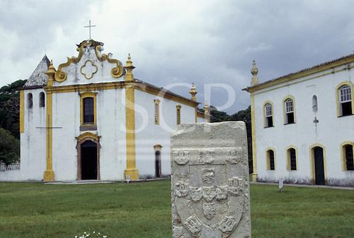 Porto Seguro, Brazil. Stone monument marking the first landing place of Pedro Alvarez Cabral and the Portuguese.