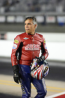 Sept. 16, 2012; Concord, NC, USA: NHRA pro stock motorcycle rider Hector Arana Sr during the O'Reilly Auto Parts Nationals at zMax Dragway. Mandatory Credit: Mark J. Rebilas-