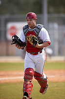 Indiana Hoosiers catcher Eric Hansen (16) during a game against the Seton Hall Pirates on March 5, 2016 at North Charlotte Regional Park in Port Charlotte, Florida.  Seton Hall defeated Indiana 6-4.  (Mike Janes/Four Seam Images)