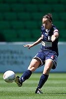 MELBOURNE, AUSTRALIA - DECEMBER 4: Rita MANKOWSKA from Melbourne Victory kicks the ball in round 5 of the Westfield W-league match between Melbourne Victory and Brisbane Roar on 4 December 2010 at AAMI Park in Melbourne, Australia. (Photo Sydney Low / asteriskimages.com)