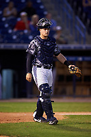 Tampa Yankees catcher Wes Wilson (69) during a game against the Bradenton Marauders on April 15, 2017 at George M. Steinbrenner Field in Tampa, Florida.  Tampa defeated Bradenton 3-2.  (Mike Janes/Four Seam Images)