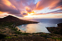 Sunrise over Hanauma Bay and Koko Crater, East O'ahu.