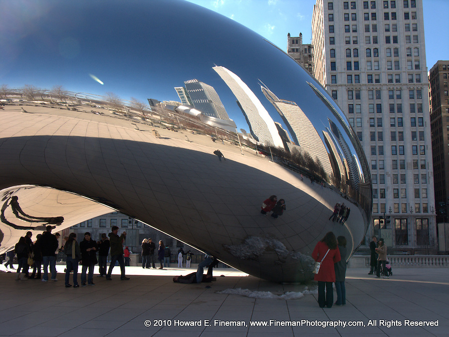 """Cloud Gate 5, Millenium Park. Known as """"The Bean"""" by Chicago residents, this public sculpture by Anish Kapoor fascinates its many visitors with distorted views of the skyline and the visitors, often in combination."""
