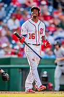 26 September 2018: Washington Nationals outfielder Victor Robles at bat against the Miami Marlins at Nationals Park in Washington, DC. The Nationals defeated the visiting Marlins 9-3, closing out Washington's 2018 home season. Mandatory Credit: Ed Wolfstein Photo *** RAW (NEF) Image File Available ***