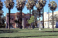 Hanford CA.:  Courthouse Square looking north to War Memorial Building. The Auditorium is to right.
