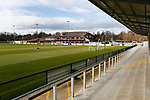 View from The Tin Shed Stand looking towards the clubhouse at Blackwell Meadows. Darlington 1883 v Southport, National League North, 16th February 2019. The reborn Darlington 1883 share a ground with the town's Rugby Union club. <br />