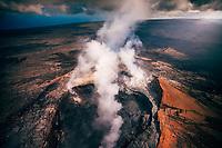 View from a helicopter tour over Pu'u O'o Crater, Kilauea Volcano, Hawai'i Island.