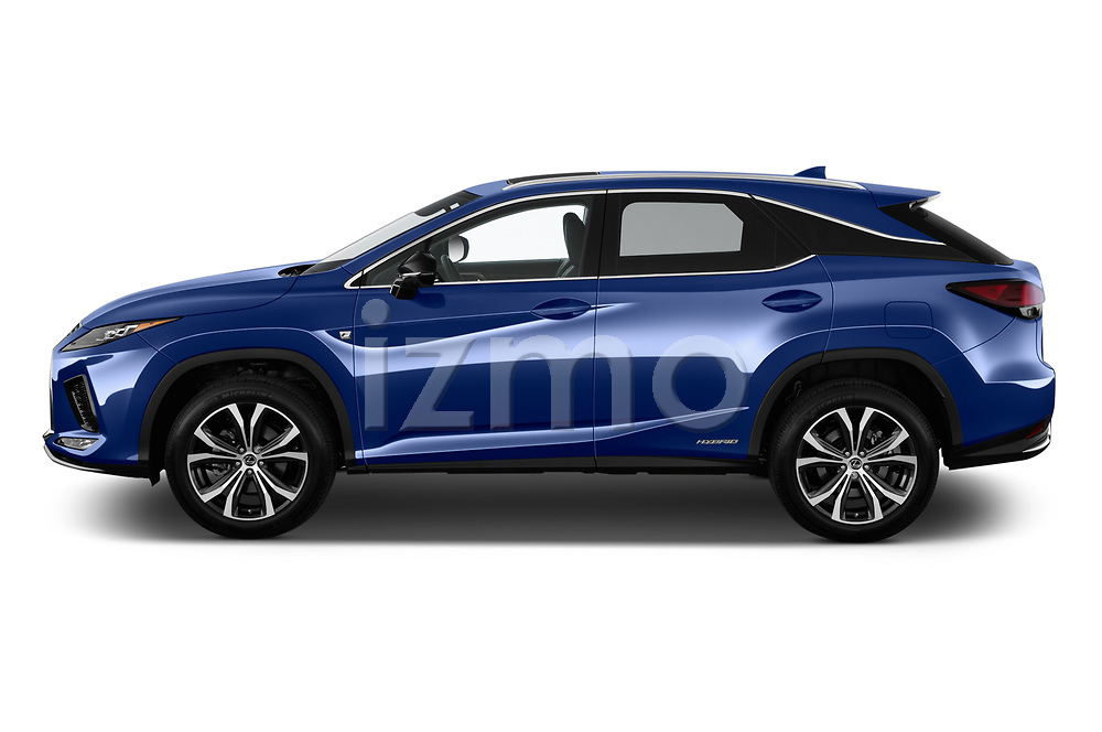 Car Driver side profile view of a 2021 Lexus RX 450h-F-SPORT 5 Door SUV Side View