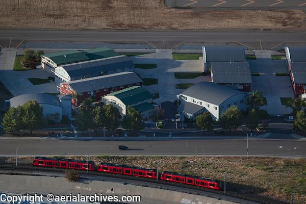 aerial photograph of the San Diego trolley Gillespie Field, El Cajon, California