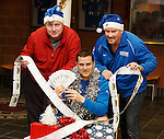 Jon Daly with Robert Pollock and Ally Dawson and 650 tickets for the boxing day match being given to people affected by homelessness and living in isolated circumstances