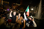 People celebrate in Washington Square Park after former Vice President Joe Biden was declared the winner of the 2020 presidential election between U.S. President Donald Trump and Biden on November 7, 2020 in New York City.  Photograph by Michael Nagle