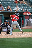 Raffy Lopez (22) of the El Paso Chihuahuas bats against the Salt Lake Bees at Smith's Ballpark on July 8, 2018 in Salt Lake City, Utah. El Paso defeated Salt Lake 15-6. (Stephen Smith/Four Seam Images)