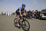 Garmin-Cervelo team rider Jacob Rathe (USA) warms up before the start of Stage 4 of the 2012 Tour of Qatar from Al Thakhira to Madinat Al Shamal, Qatar. 8th February 2012.<br /> (Photo Eoin Clarke/Newsfile)