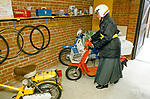 Nun UK 1980s Sister Angela on her scooter Church of England Society of St Margaret London 1989 1980s