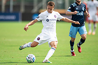 LAKE BUENA VISTA, FL - JULY 23: Alvaro Medran #10 of the Chicago Fire kicks the ball during a game between Chicago Fire and Vancouver Whitecaps at Wide World of Sports on July 23, 2020 in Lake Buena Vista, Florida.