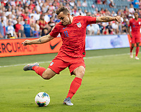 KANSAS CITY, KS - JUNE 26: Jordan Morris #11 during a game between Panama and USMNT at Children's Mercy Park on June 26, 2019 in Kansas City, Kansas.