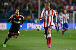 Atletico de Madrid´s Joao Miranda (R) and Bayer 04 Leverkusen´s Calhanoglu during the UEFA Champions League round of 16 second leg match between Atletico de Madrid and Bayer 04 Leverkusen at Vicente Calderon stadium in Madrid, Spain. March 17, 2015. (ALTERPHOTOS/Victor Blanco)
