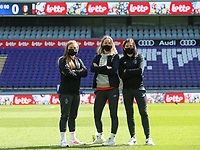 Davinia Vanmechelen (25) of Standard , Charlotte Cranshoff (18) of Standard  and Noemie Gelders (10) of Standard  pictured before a female soccer game between RSC Anderlecht Dames and Standard Femina De Liege on the third matchday of play off 1 of the 2020 - 2021 season of Belgian Womens Super League , saturday 24 th of April 2021  in Brussels , Belgium . PHOTO SPORTPIX.BE | SPP | SEVIL OKTEM